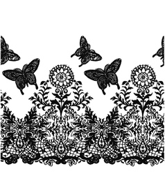 Seamless butterfly lace fabric pattern vector