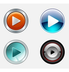 stylish play icons vector image vector image