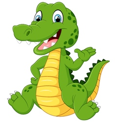 Cartoon funny crocodile waving hand vector image