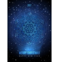 Christmas background with big vintage blue gold vector image vector image