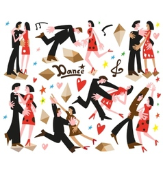 Dancing couples -cartoons vector