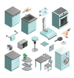 Kitchen Interior Isometric Icons Set vector image