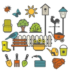 Rural landscape with gardening concept vector image