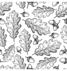 Seamless pattern with autumn leaves Oak vector image