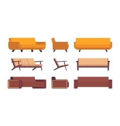 Set of retro sofas vector image vector image