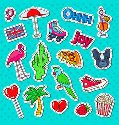 teenager fashion lifestyle stickers badges vector image vector image