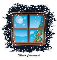 window snowy night Christmas background vector image vector image