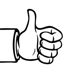 Black and white thumbs up vector image