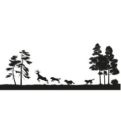 black silhouettes of forest animals vector image vector image