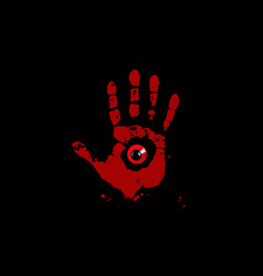 bloody hand print with red monster eye inside vector image