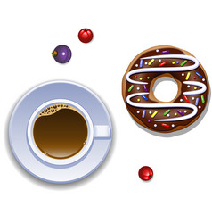 cup of coffee and a donut vector image