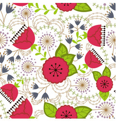 poppy and dandelion pattern colorful on white vector image