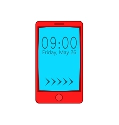 Smartphone with clock on display icon vector image