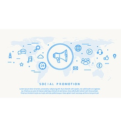 social promotion thin line design vector image