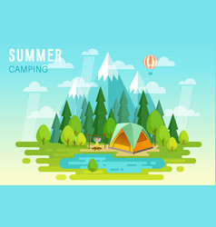 summer camping graphic poster vector image