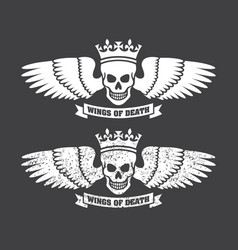 winged skull design vector image vector image