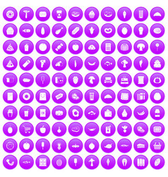 100 food shopping icons set purple vector