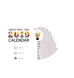 2019 calendar templatespiral calendar vector image