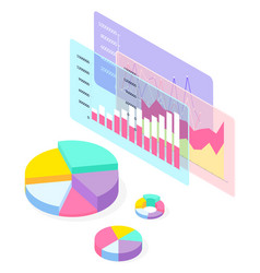 3d graphics diagrams pie charts isometric vector image