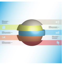 3d infographic template with ball sliced to five vector image