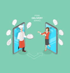 3d isometric flat concept food delivery vector image