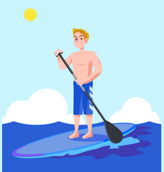 a man enjoying water sports in the blue sea vector image