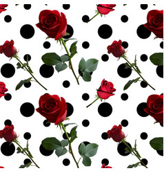 a pattern with red roses with green leaves and a vector image