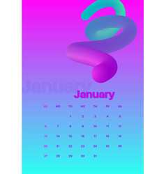 Abstract minimal calendar design for 2019 january vector