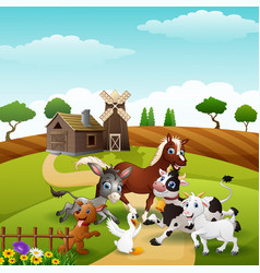 Animals playing together at farm vector