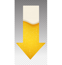 Arrow down with beer foam and bubbles background vector