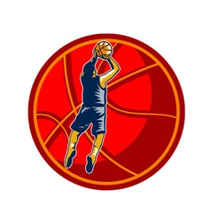 Basketball Player Jump Shot Ball Woodcut retro vector image