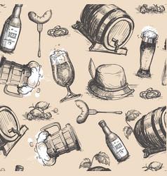 beer barrel seamless pattern oktoberfest festival vector image