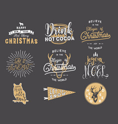big merry christmas typography quotes wishes vector image