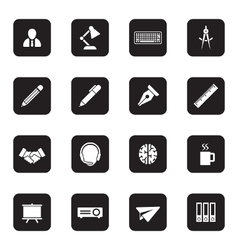 Black flat business and office icon set vector