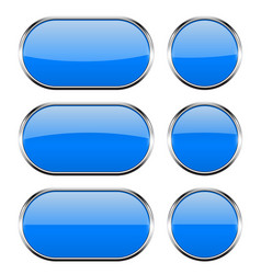 blue glass buttons with chrome frame 3d icons vector image