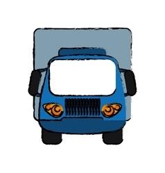 blue truck small cargo transportation sketch vector image