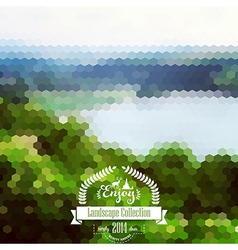 Blure landscape with hipster badge lake view vector