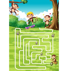 Boardgame design with monkeys in background vector image