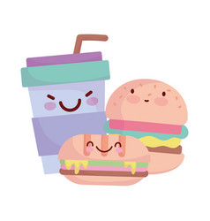 Burger sandwich and take away cup menu character vector