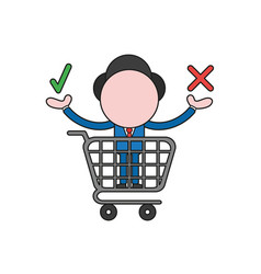 businessman character inside shopping cart and vector image