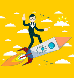 businessman flying on a rocket on sky background vector image