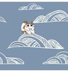 Cat on the cloud vector image