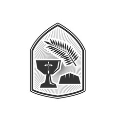 Chalice christ and bread vector