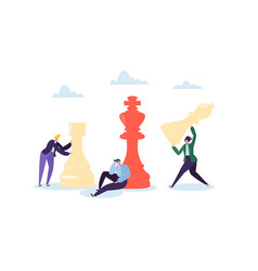 characters playing chess business strategy concept vector image