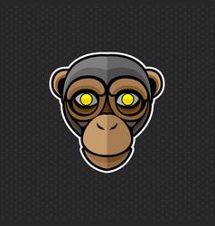 Chimpanzee logo design template head vector