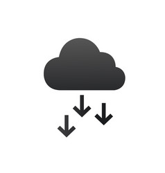 Cloud icon with arrows down backup and restore vector