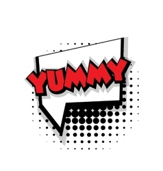 Comic text yummy sound effects pop art vector image