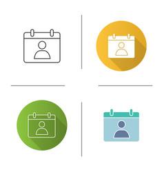 Contact calendar icon vector