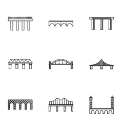 Crossing river icons set outline style vector