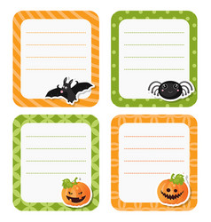 cute cards or stickers with halloween symbols vector image